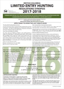 Limited entry hunting regulations synopsis 2017 2018 for California fishing regulations 2017